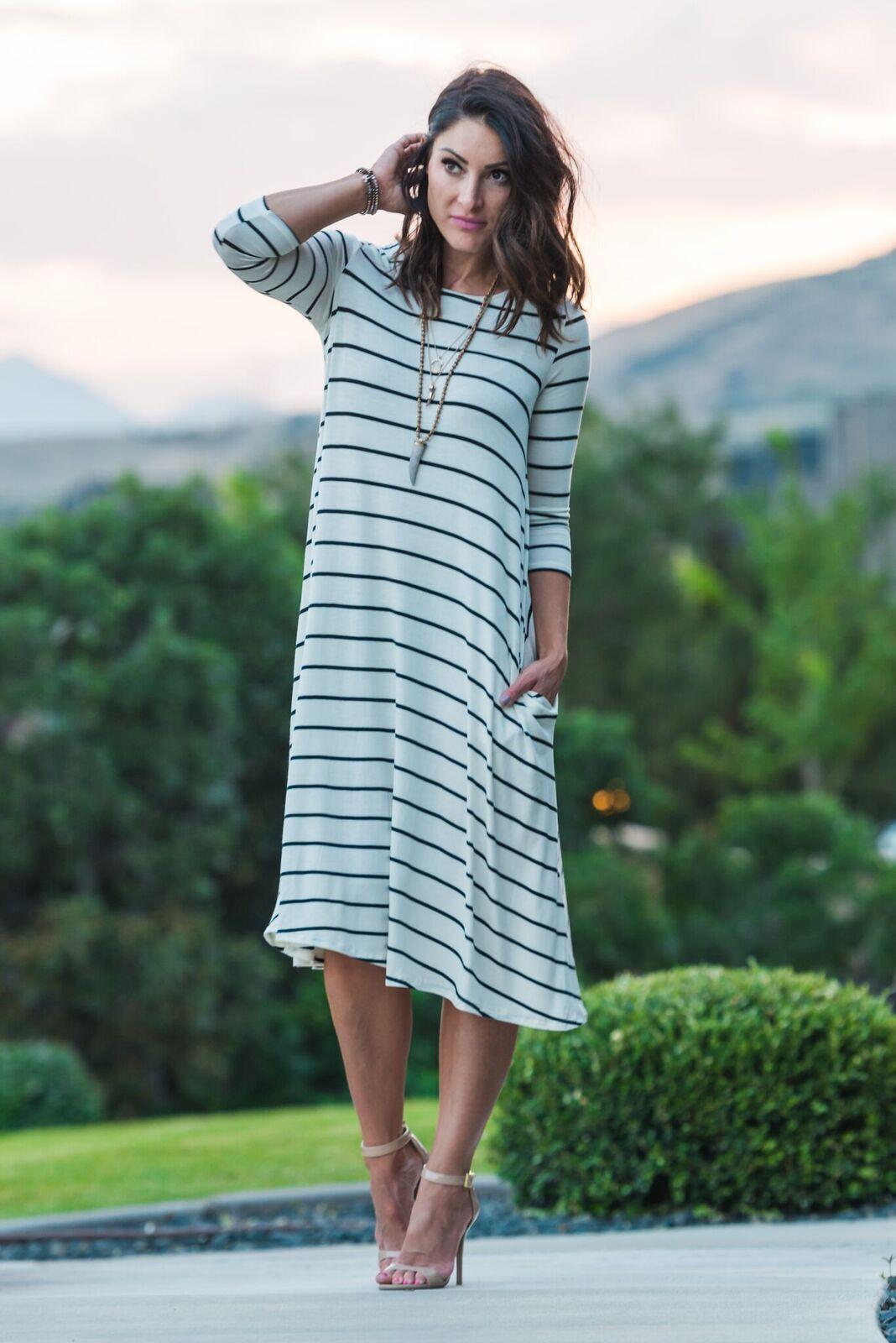 Kinsley Striped Pocketed Dress | DRESSES! | Pinterest | Modest ...