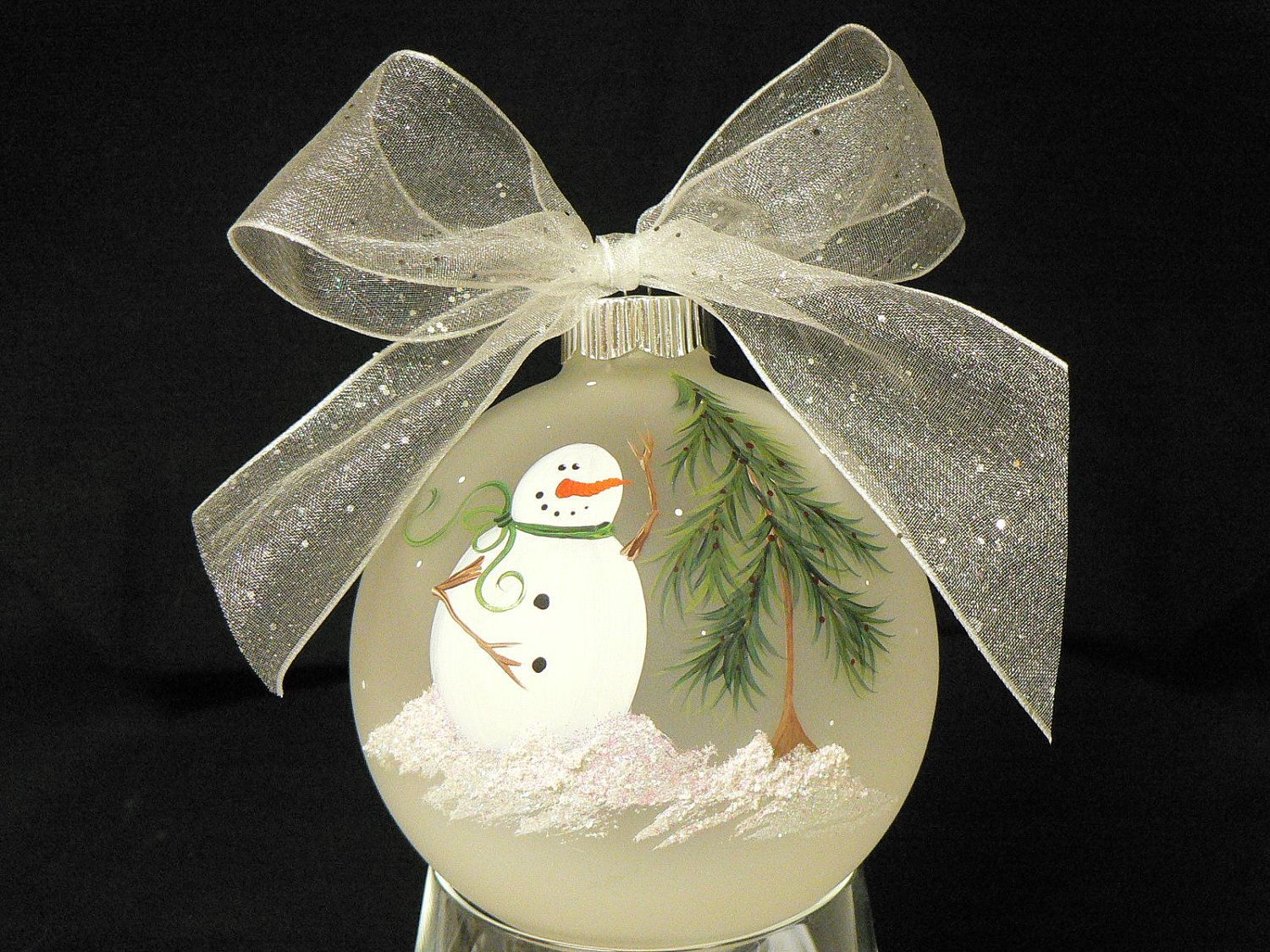 Hand Painted Frosted Round Glass Christmas Ornament Painted Christmas Ornaments Christmas Ornaments To Make Diy Christmas Ornaments