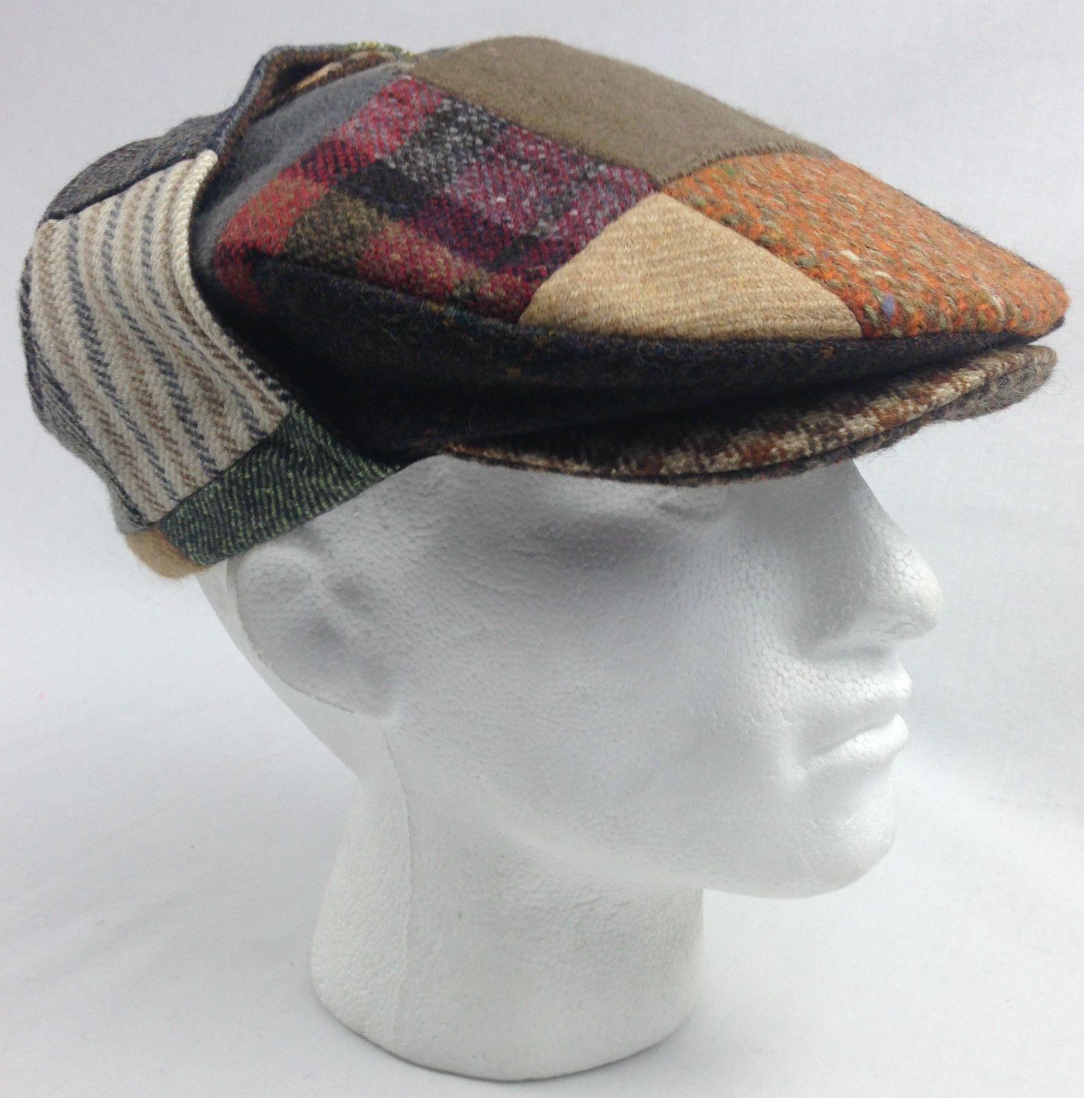 HANNA HATS Patch Tweed Lugg Hat Flat Cap Wool Handmade in IRELAND Mens Ear  Flap  469b73c6880