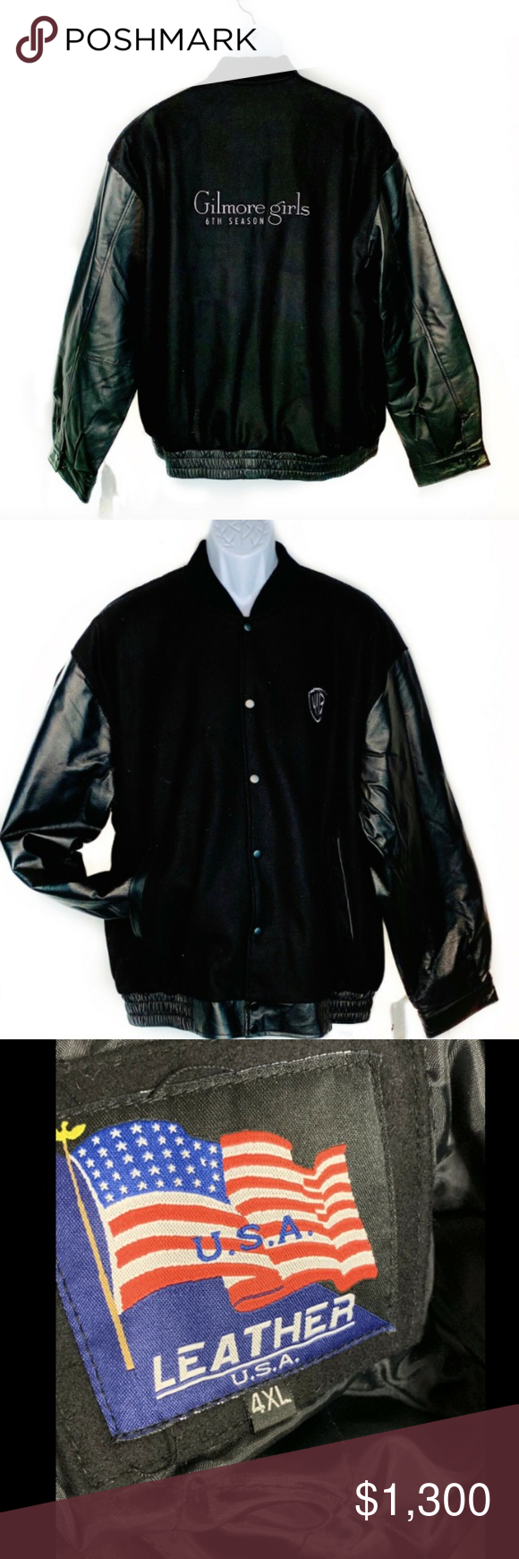 GILMORE GIRLS Cast & Crew Gift Varsity Jacket Lthr Very rare Gilmore Girls leather and wool varsity jacket with quilted interior. It was given as a gift to the cast and production crew during the 6th season so this is an incredibly special find. Never worn. Men's 4x. Gilmore Girls Jackets & Coats Bomber & Varsity #varsityjacketoutfit