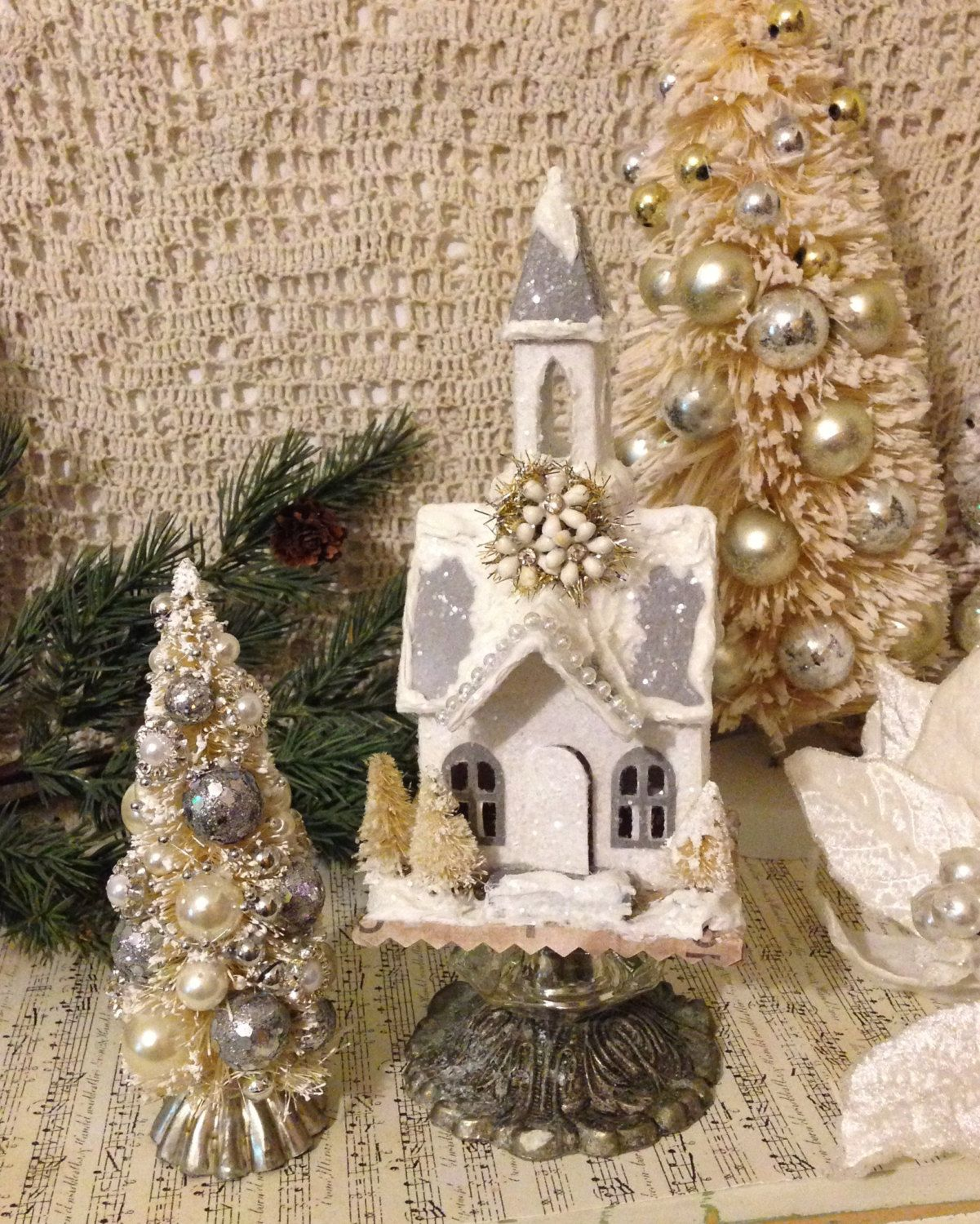 Silver Christmas Cottage Church~ Vintage Inspired,  Putz Village Church with Matching Bottlebrush Tree, Silver and White Holiday Decorations by ThePokeyPoodle on Etsy