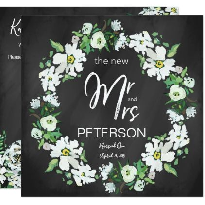 Floral Chalkboard Typography Post Wedding Party Card floral style
