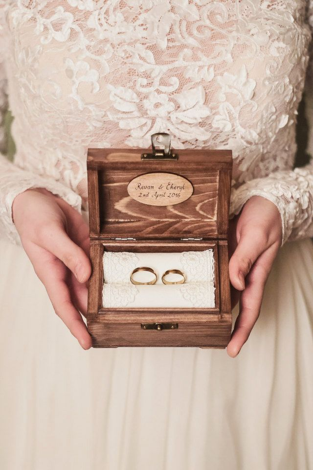 Personalized Wedding Ring Box Rustic Wooden Ring Box Rustic Etsy Personalised Wedding Ring Boxes Wooden Ring Box Wedding Ring Box