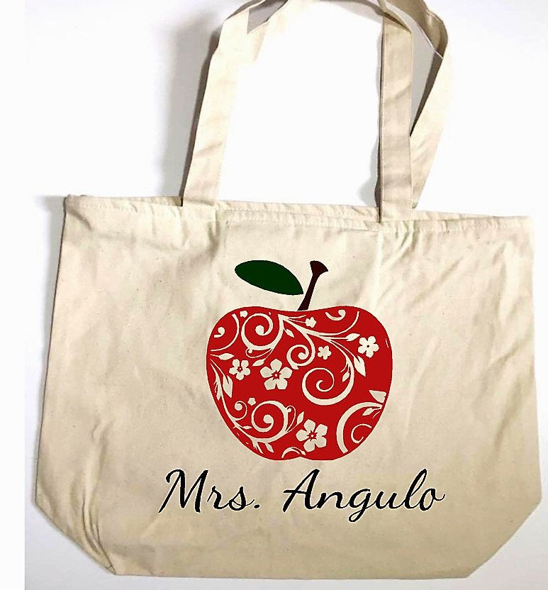 Teacher Bag Canvas Tote Le Personalized Name Book Gift Zippered By Elainescrafts