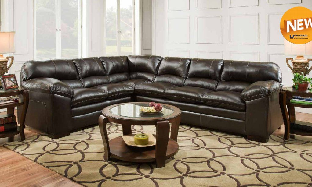2 Pc Bingo Collection Brown Faux Leather Upholstered Sectional