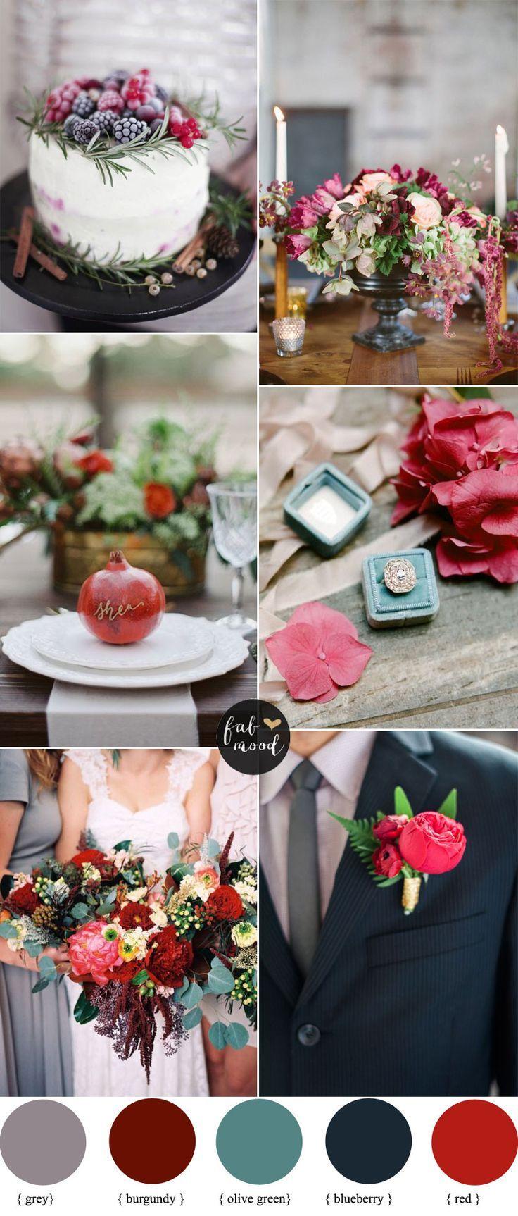 Burgundy , grey and olive green autumn wedding palette