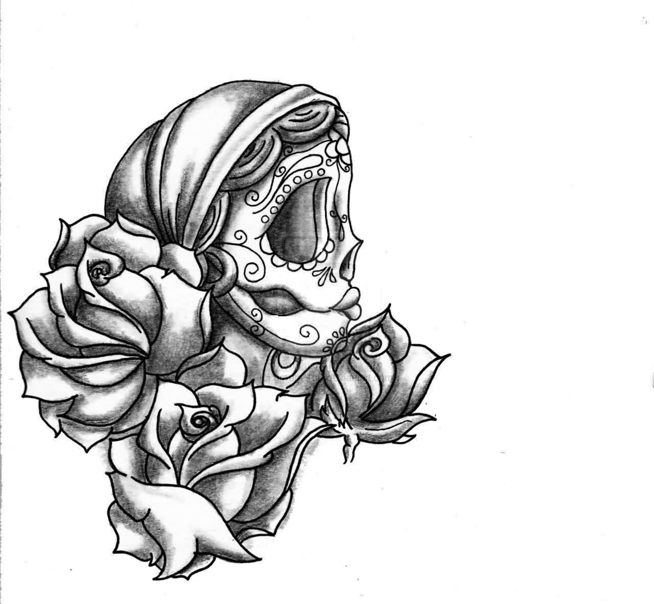 sugar skull girl and roses tattoo designs photo 1 - Sugar Skull Tattoo Coloring Pages