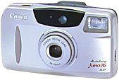 SURE SHOT 76 ZOOM/Date /  PRIMA ZOOM 76/Date / Autoboy JUNO 76 - June 2000 (Replacing the Autoboy Juno / SURE SHOT 60 ZOOM / PRIMA ZOOM SHOT marketed in October 1995; this model features an excellent quality objective lens, a well-balanced high quality, user-friendly design, and excellent cost-performance through innovative cost-conscious design.)