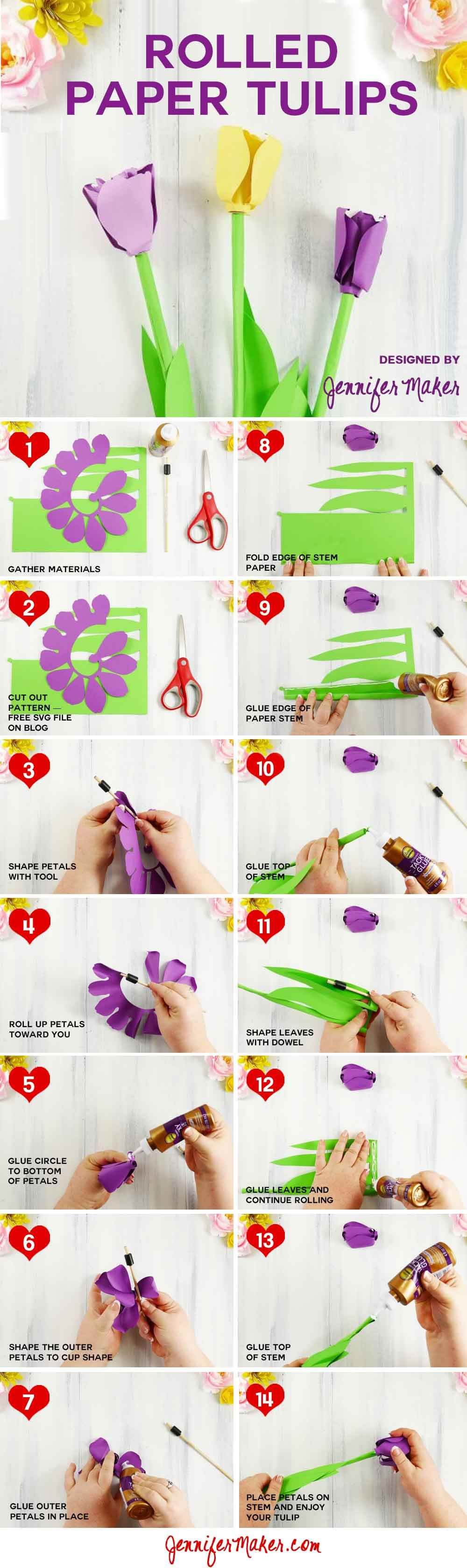 Make A Paper Tulip Bring Spring To Your Home Jennifer Maker Paper Flowers Diy Craft Projects Crafts