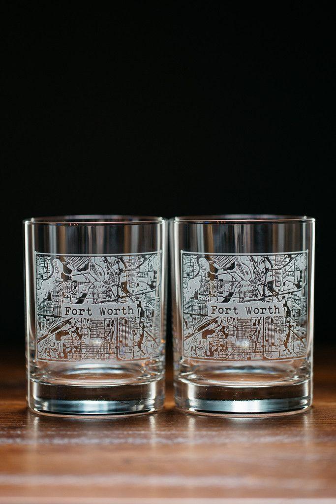 Fort Worth College Town Rocks Glass Set Glass Set Glass Rocks Glass