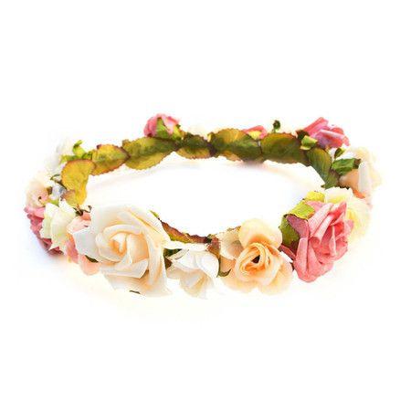 Coroa de Flores Rosa Cabelo