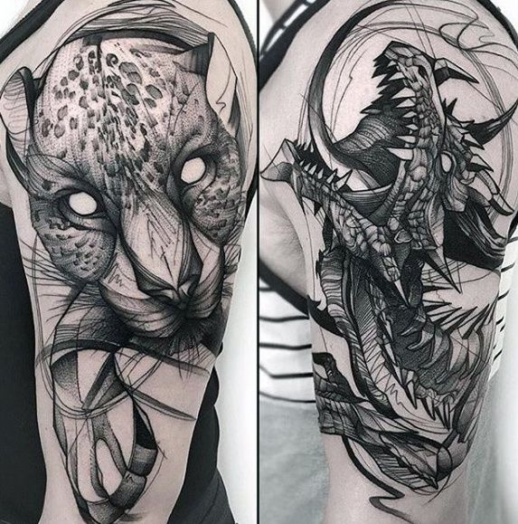 60 Sick Wolf Tattoo Designs For Men: 60 Sketch Tattoos For Men - Artistic Design Ideas