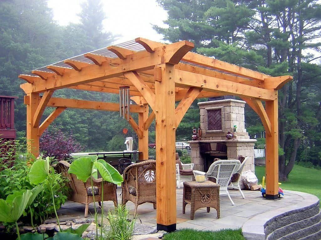 Patio With Rattan Furniture And Cedar Pergola : Backyard Wooden Cedar  Pergola #pergolafireplace - Patio With Rattan Furniture And Cedar Pergola : Backyard Wooden