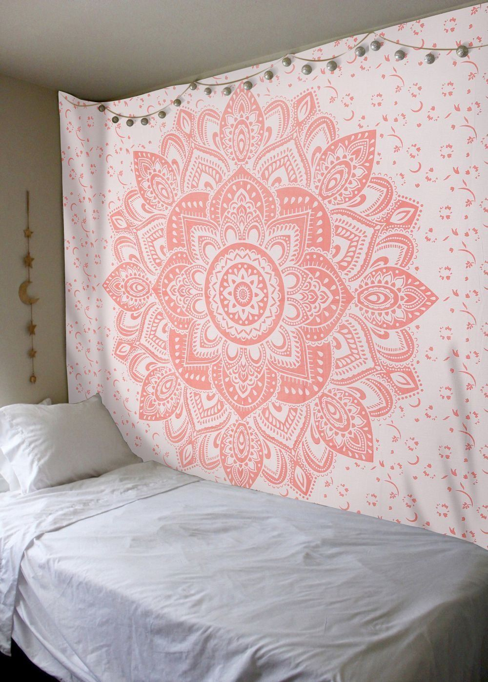 Rose gold ombre tapestry mandala queen indian wall art hippie wall