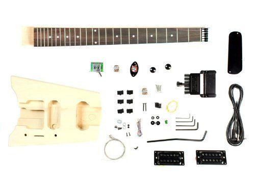 stellah headless traveling electric guitar diy kit project double locking tremolo bridge 24. Black Bedroom Furniture Sets. Home Design Ideas