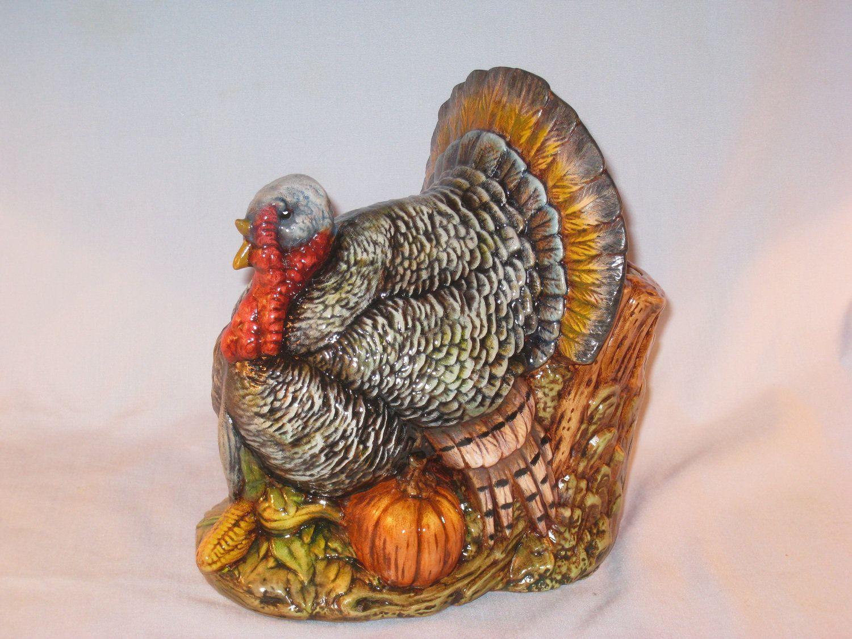 Ceramic Turkey Planter Fall And Thanksgiving Hand Painted Etsy Ceramics Turkey Ceramic Bisque