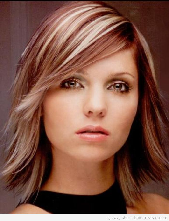 medium bob for thick hair this style but red red instead of the blonde highlights