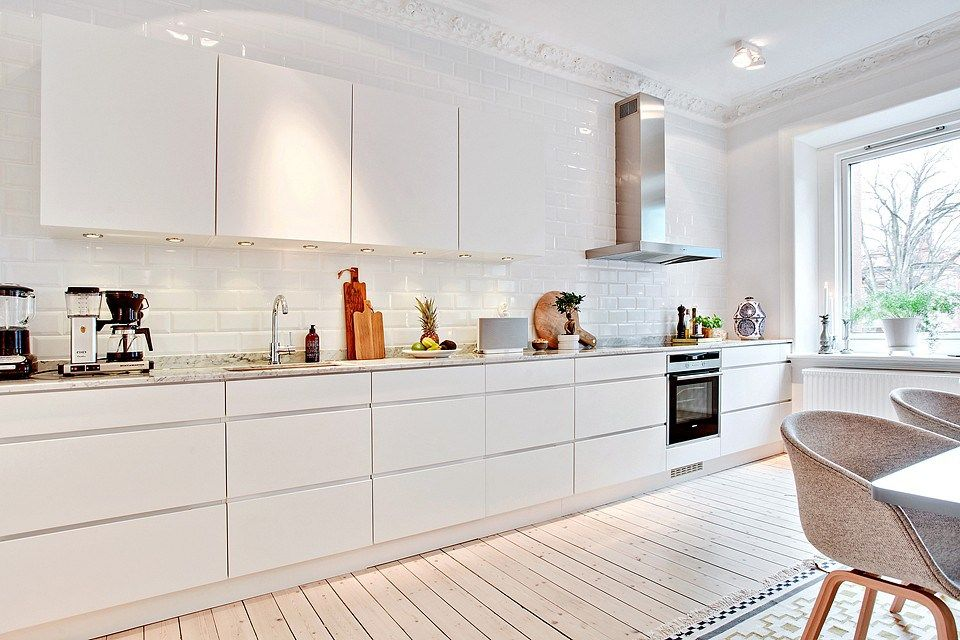 Kitchen. White. Galley. Open Space. Windows. Modern. Bright. Design. Decor.  Interiors. Home.