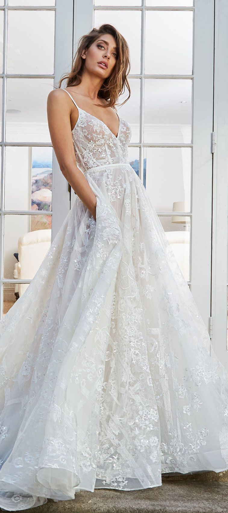 Leah Da Gloria Made To Order Wedding Gowns | Pocket detail, Chapel ...