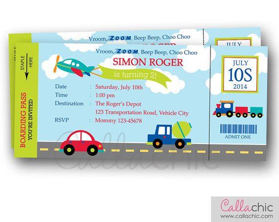 Transportation Ticket Invitation PRINTABLE - Boarding Pass Birthday - ticket invitation template