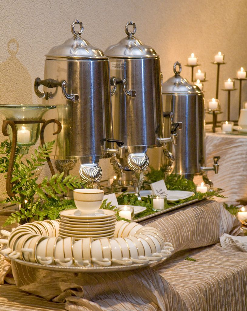 Wedding 015 tea station plastic trays and silver trays for Coffee bar setup ideas