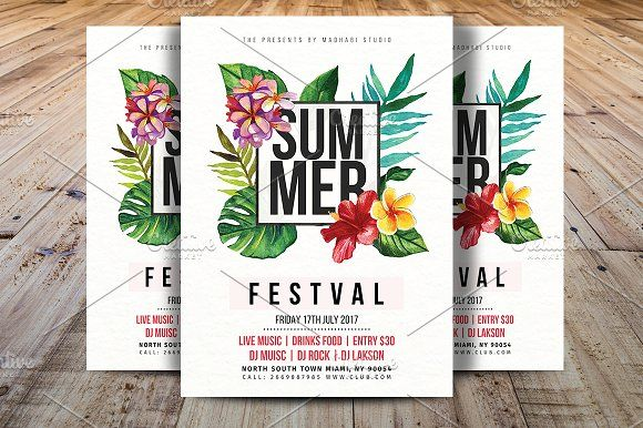 Summer Festival Flyer Template By Madhabi Studio On
