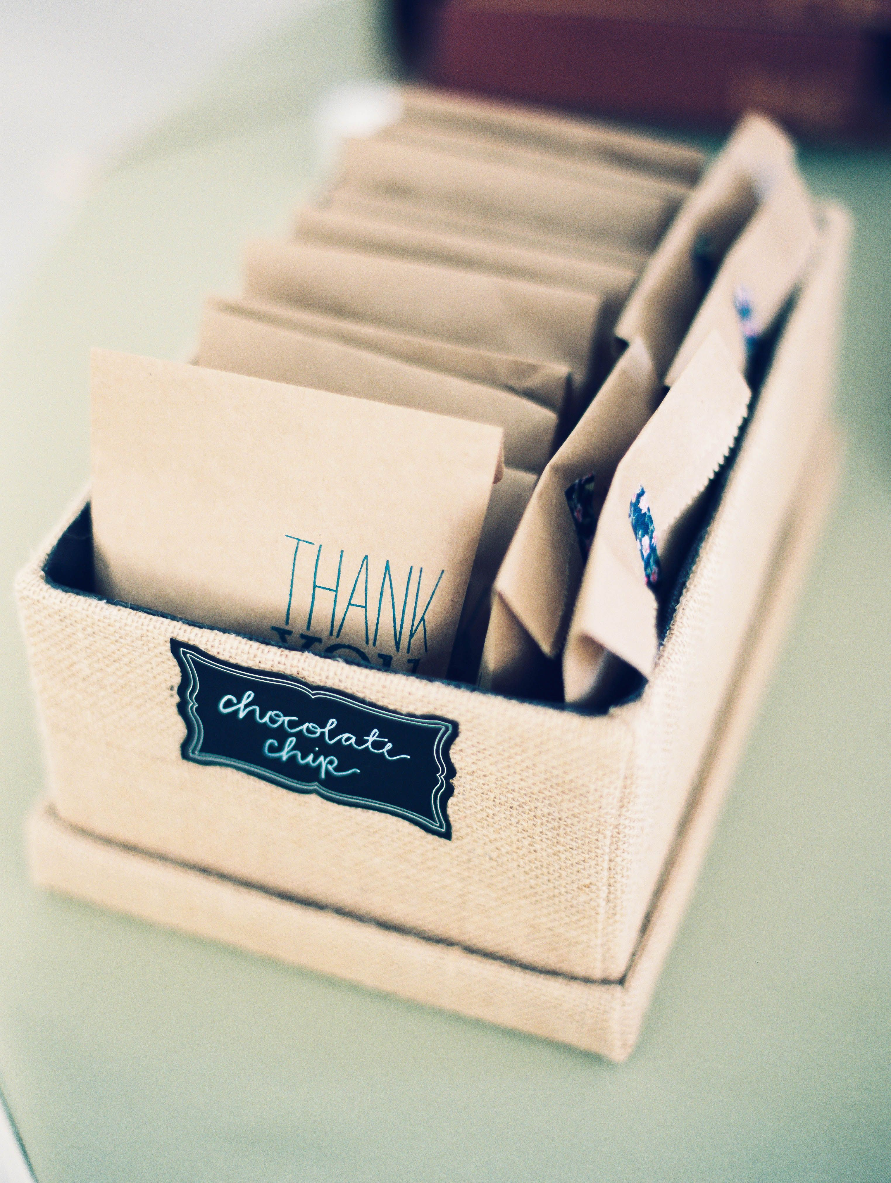 DIY Chocolate Chip Cookie Wedding Favors - Send guests home with these sweet treats.  Shop for these EcoCraft Grease Resistant Cookie bags at http://www.roundeyesupply.com/EcoCraft-GR-Pastry-and-Cookie-Bag-Natural-p/10903003.htm