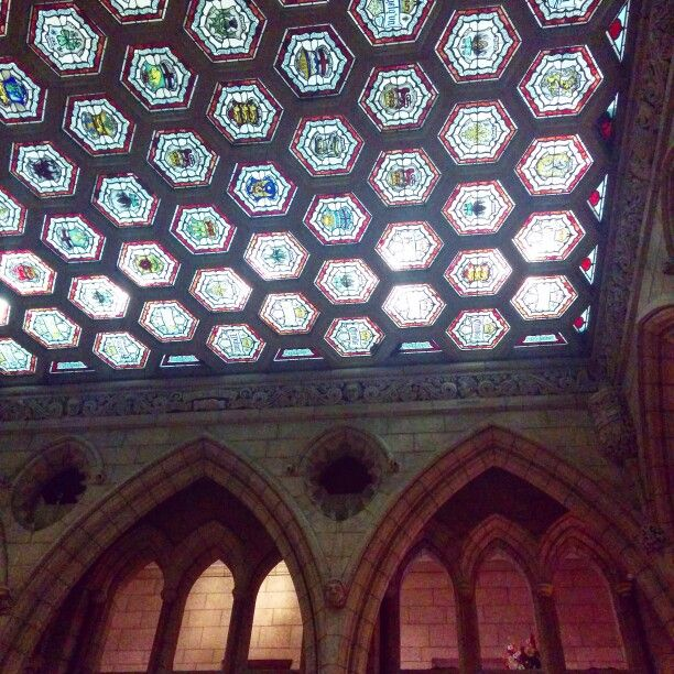 Stained glass ceilings in canadian parliament building #ottawa