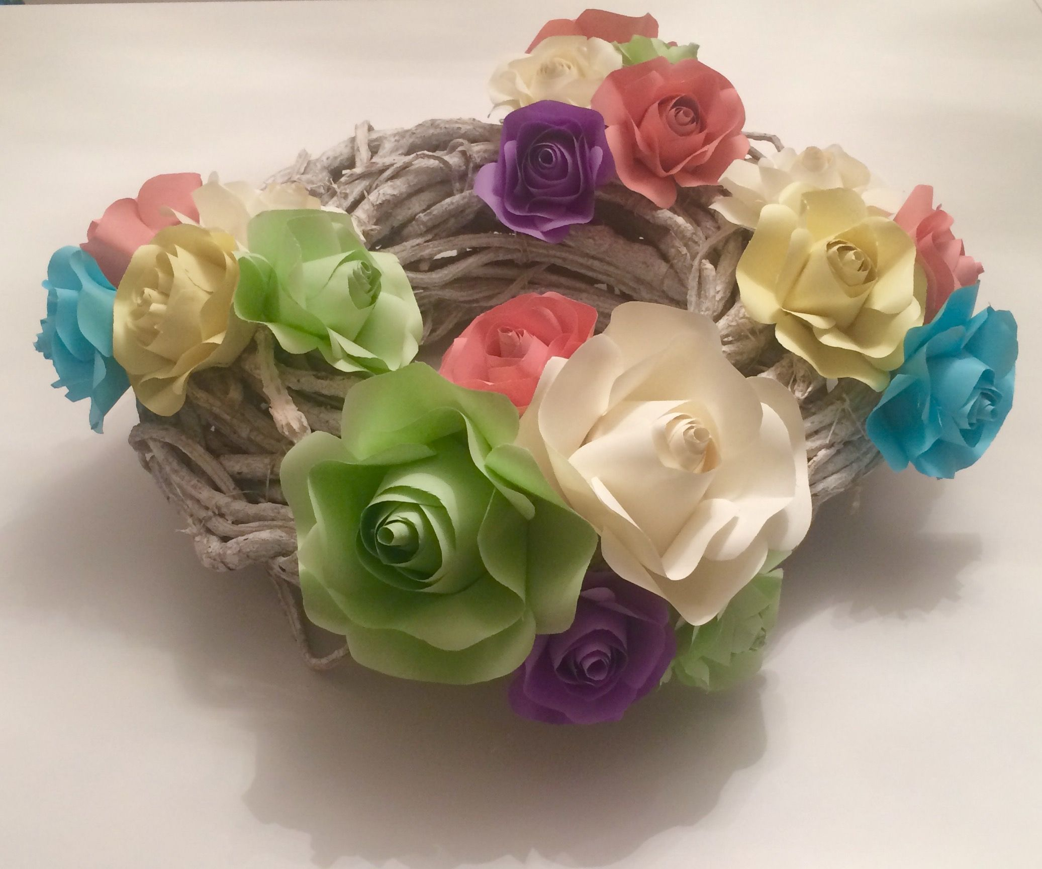 Diy spring easter wreath with paper flowers roses