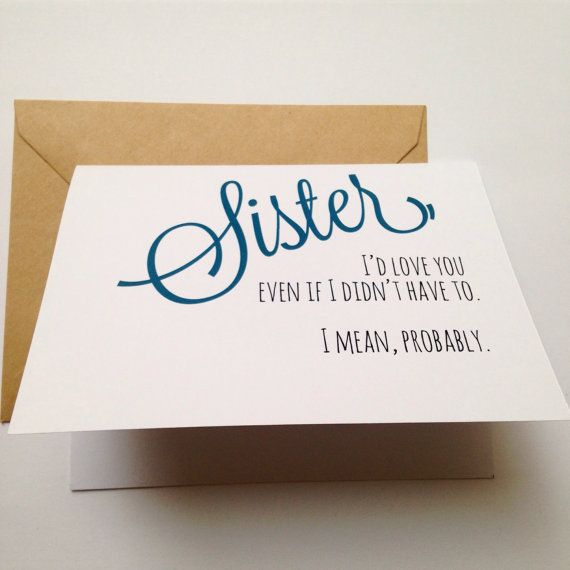 Funny Sister Card Birthday By BEpaperie