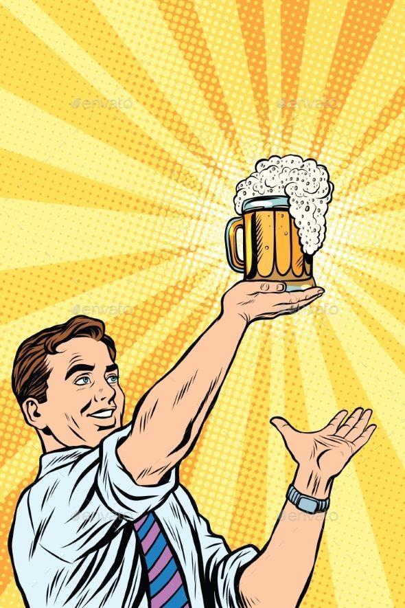 Retro man and mug of beer pop art vector. Oktoberfest and St. Patrick day. Beer …