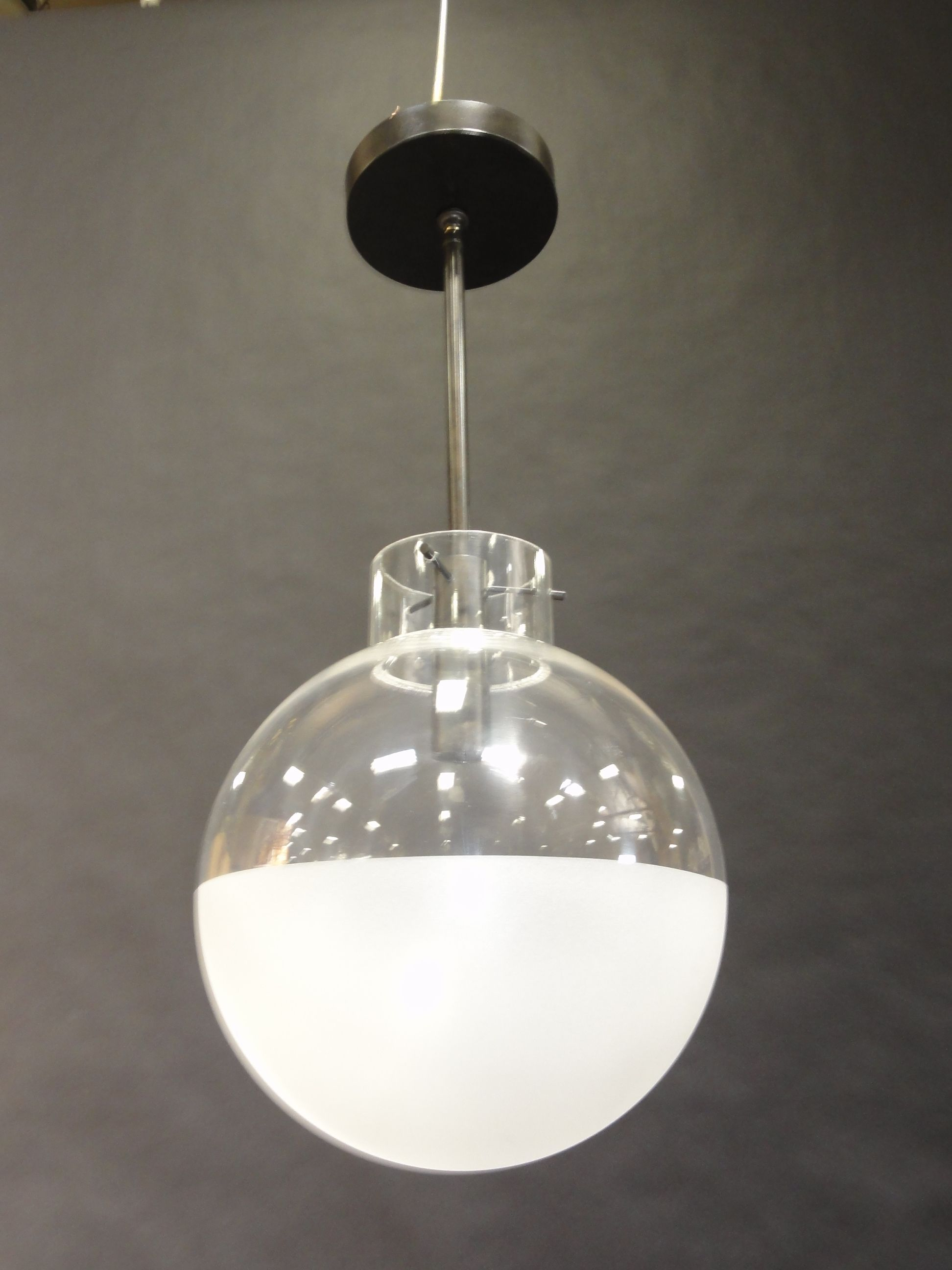 Clear & Frosted Glass Globe - Pendant Lighting - Polished