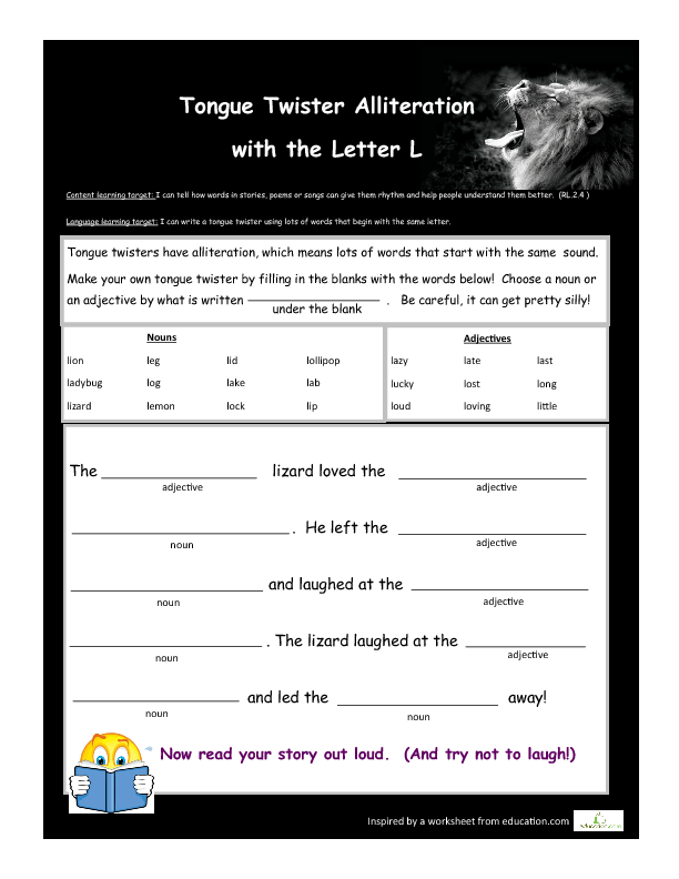 Write A Tongue Twister With The Letter L Tongue Twisters Twister Worksheets