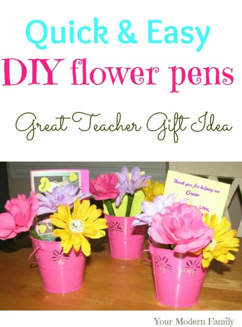 Diy Flower Pens Flower Pens Diy Flowers Teacher Gifts