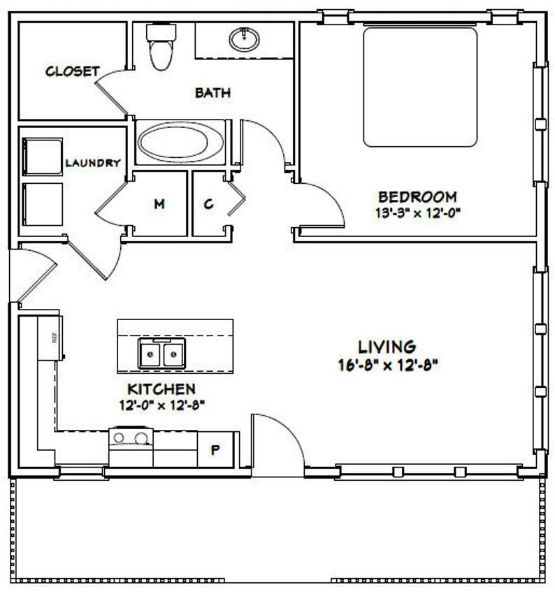 30x26 House 1 Bedroom 1 Bath 780 Sq Ft Pdf Floor Plan Etsy Guest House Plans One Bedroom House Plans 1 Bedroom House Plans