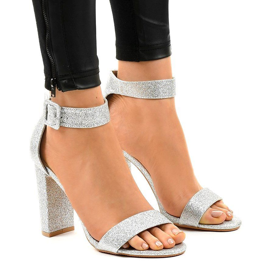 Srebrne Odkryte Czolenka Brokatowe Zy 161 Szare Slip On Sandal Sandal Espadrille Shoes