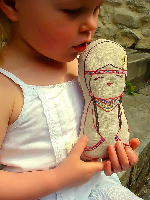 Native American Indian doll/ Linen Plush Doll/ Stuffed by leilalou, $28.00 #indianbeddoll