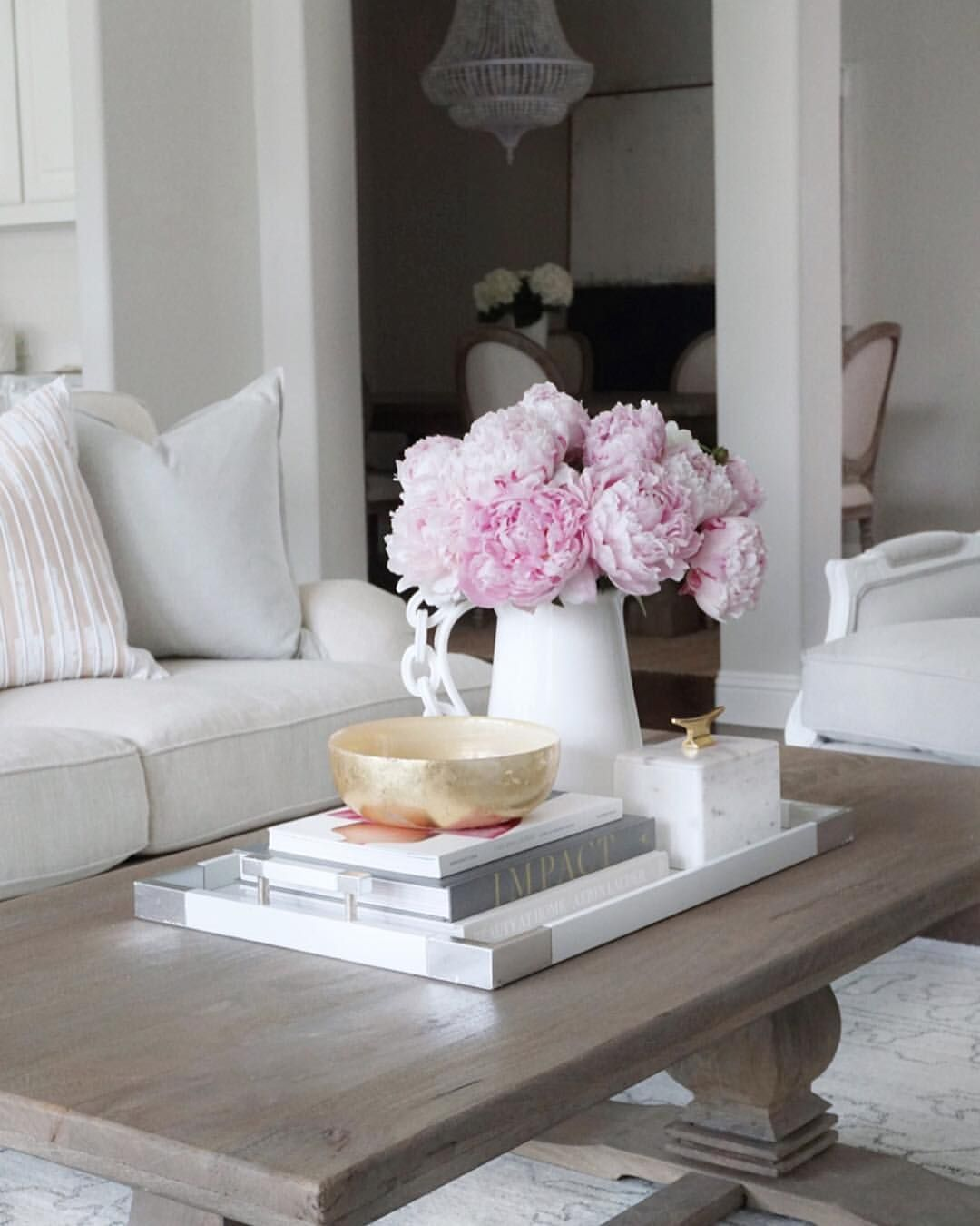 Neutral Living Room Decor Pink Peonies Coffee Table Styling White Tray Coffee Table Dec Coffe Table Decor Living Room Decor Neutral Coffee Table Decor Tray