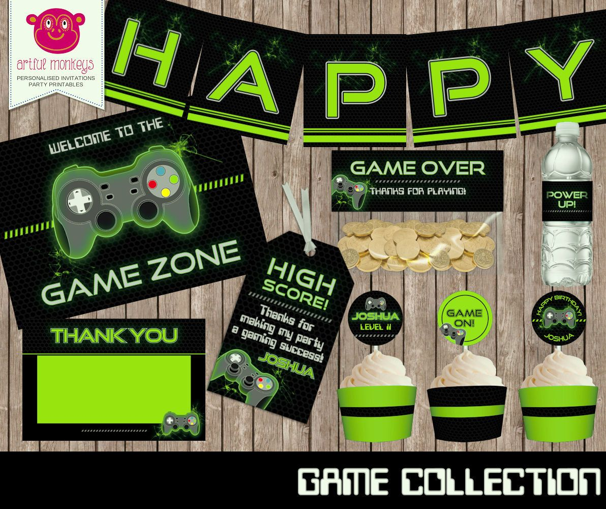 Printable Video Game Party Collection | Personalized | Video game ...