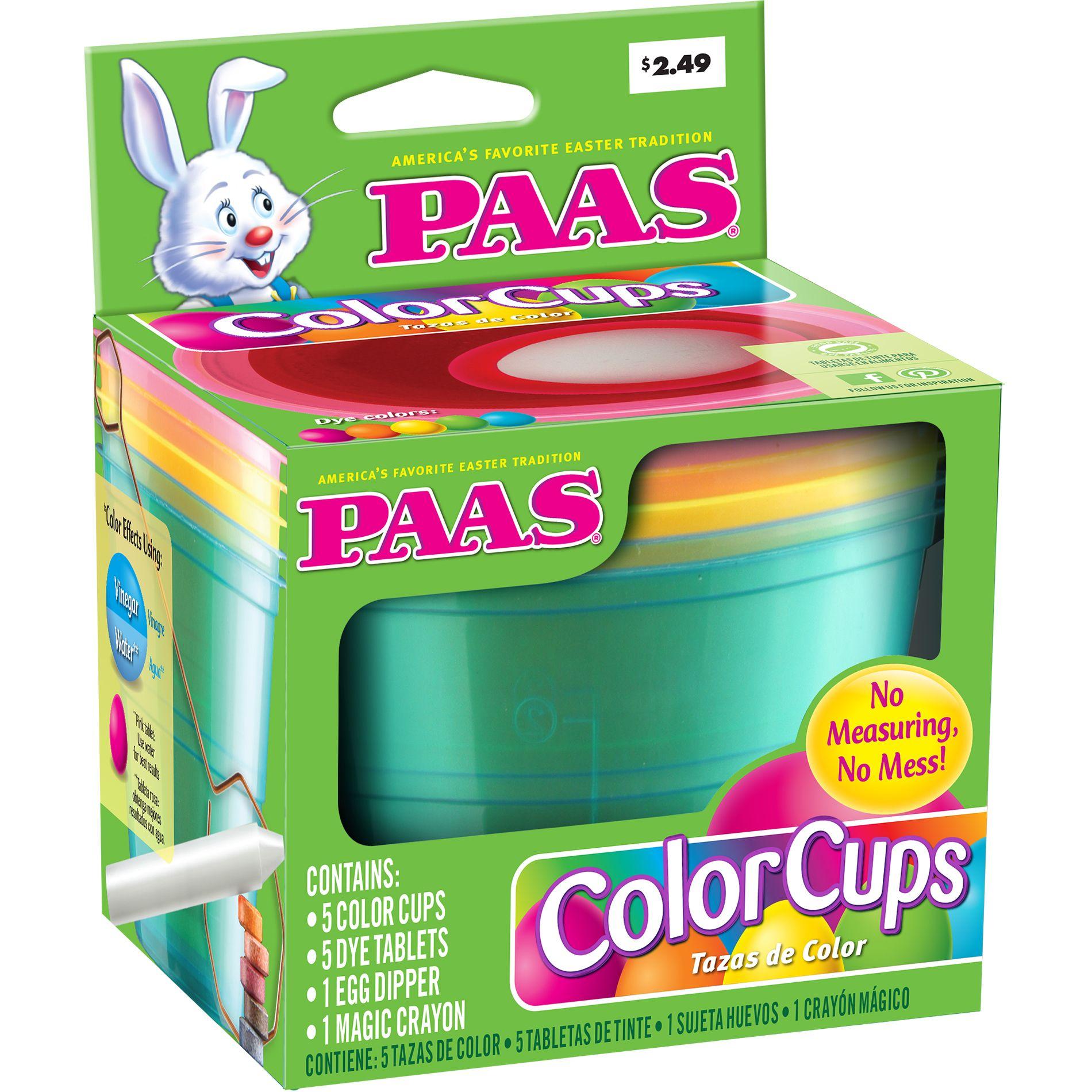 PAAS Neon Color Cups Egg Dye Kit (071169387639) Food Safe Dye ...