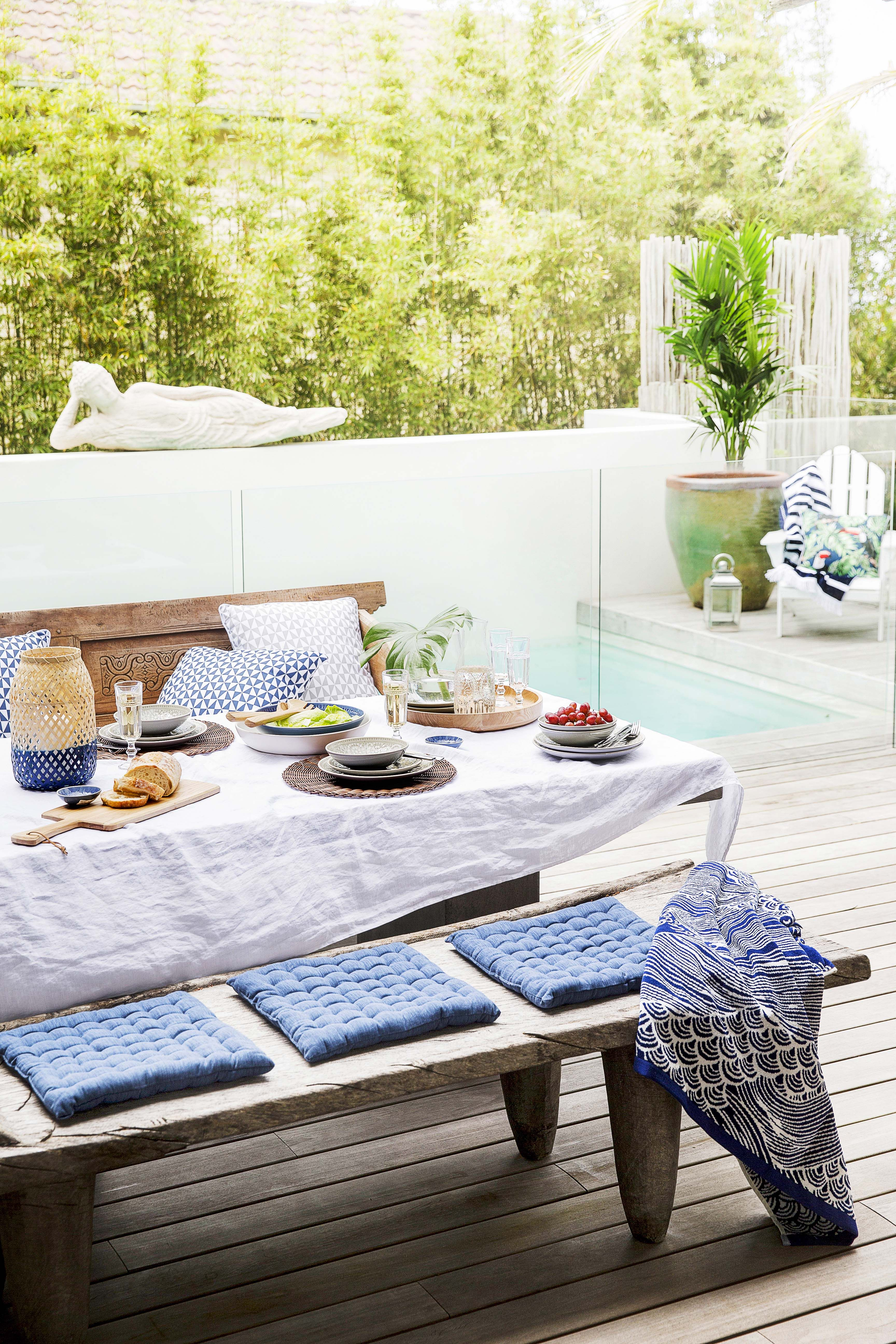 Home Beautiful Takes The Style Challenge And Decorates An Entire Outdoor Space From Bed Bath N Table On A B Outdoor Dining Spaces Home Dining Table In Kitchen