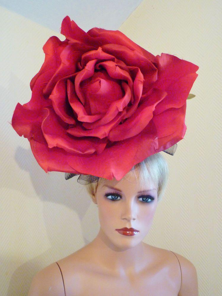 LADIES DAY HUGE RED ROSE LARGE FASCINATOR ROYAL ASCOT EPSOM DERBY RACE HAT 65ae457c241