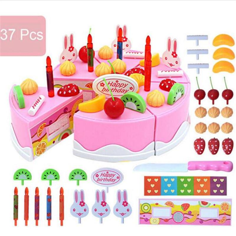 37pcs Pretend Role Play Kitchen Toy Happy Birthday Cake Food Cutting