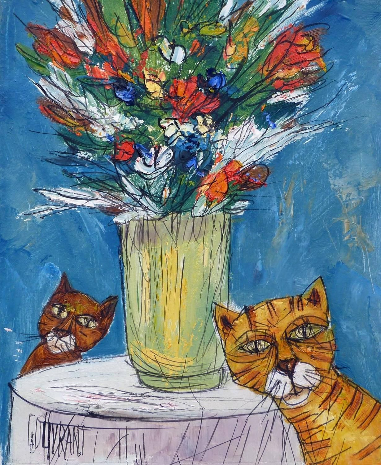 Two cats and flowers by Gérard GOUVRANT, 2000 Animal