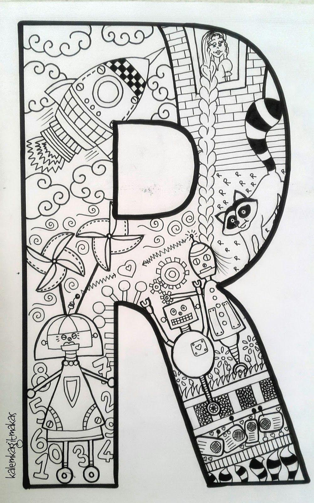 Zeynepin Atölyesi Harf Harf Buyuklere Boyama Oöe Alphabet