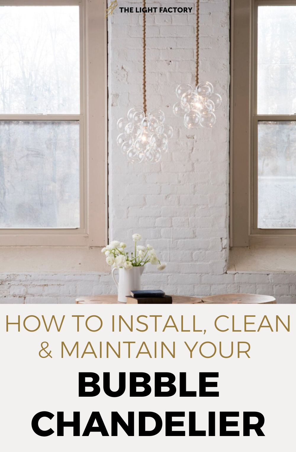 A bubble light fixture from The Light Factory does so much more than provide light. Even when it's not switched on, it's art: a stylish statement piece. Here's how to install, clean, and maintain your chandelier. #howtoinstalllightfixtures #lightingfixtureideas #glasschandeliers #uniquelightingfixtures #midcenturylighting #midcenturylightfixtures #lightingideas