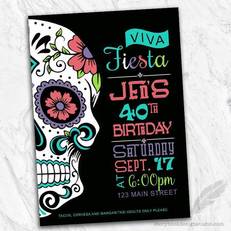 Sugar Skull Birthday Party Invitations | Invitations | Pinterest ...