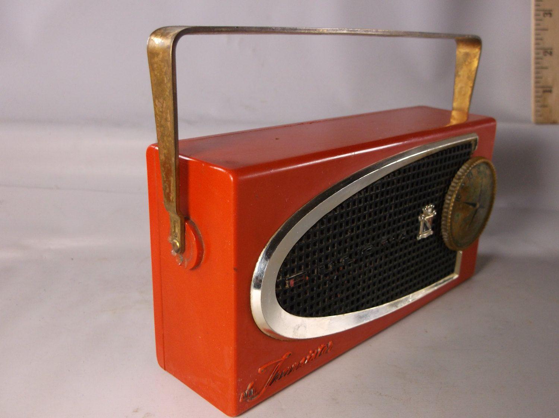 Vintage Mid Century Bright Red Bulova Transistor Radio 620, Needs Work .epsteam by retroricks on Etsy