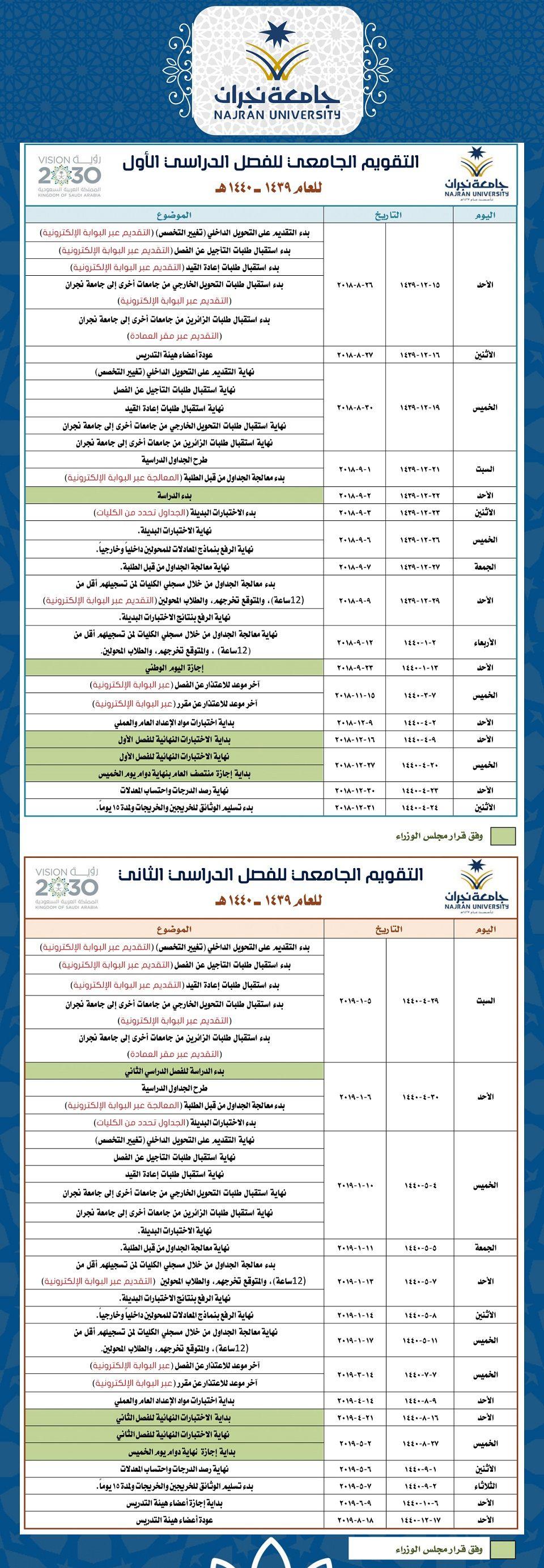 Deanship of Admission and Registration   التقويم الجامعي ...