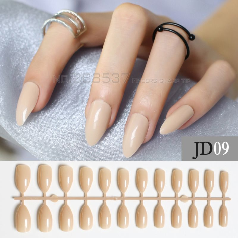 Khaki full cover stiletto nails Tips Light Brown Fake Artificial ...